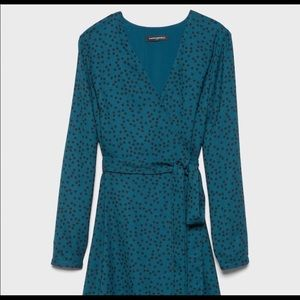 Dark teal wrap midi dress